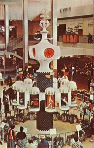 The clock of nations Midtown Plaza mall circa 1960