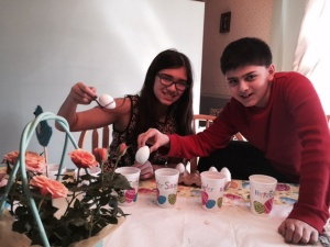 My kids dye their Easter Eggs