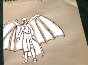 A Valayan soldier from the front, wings out. I am drawing some concept art for Halfing. My process involves drawing the figure on paper, then manipulating it on the computer. This illustration is before color has been added.