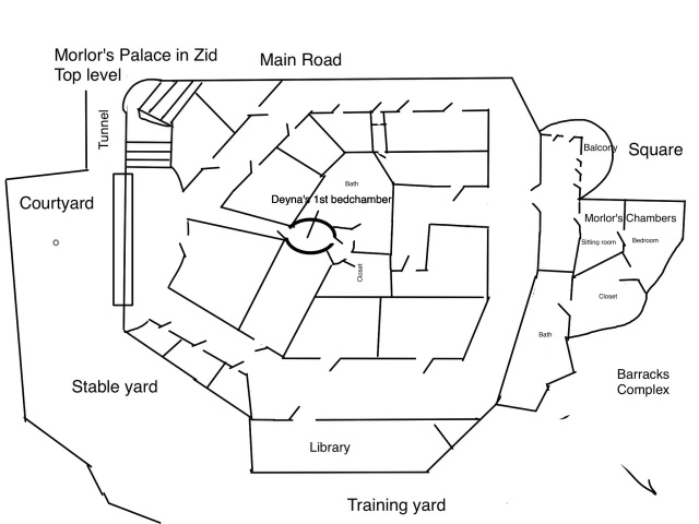 Here's a rough floor plan  of the top level of Morlor's Palace in Zid. This floor is reserved for state bedroom's and Morlor's audience and living quarters. The library which Deyna frequents is two stories. The second story is on this level, as well.